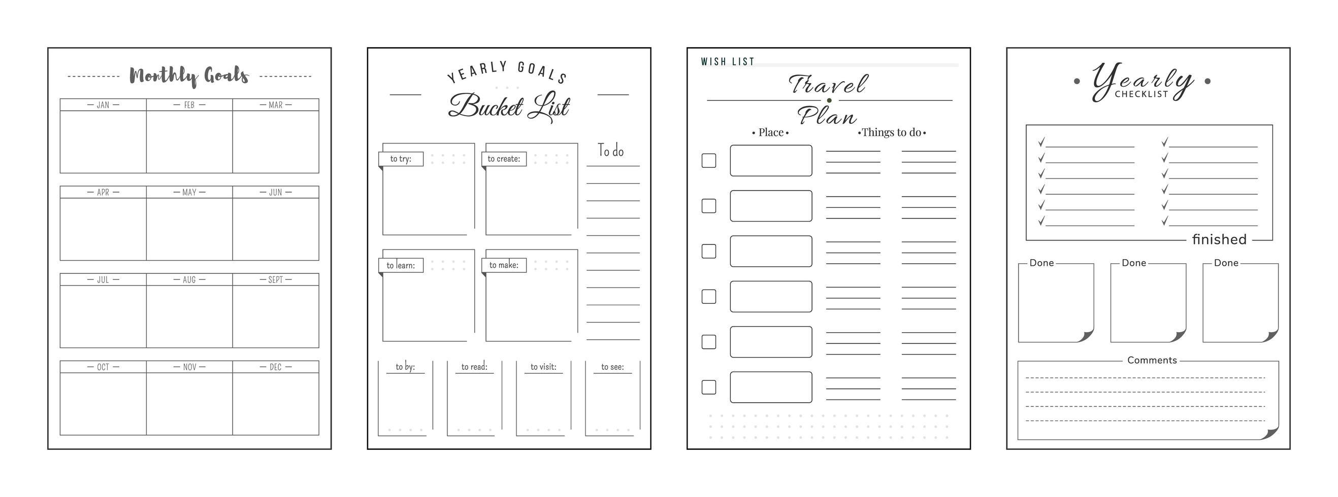 Prioritäten und Wünsche minimalistischer Planer Seitensatz vektor