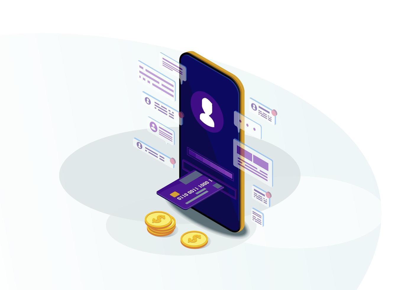 isometrisk mobilbank vektor