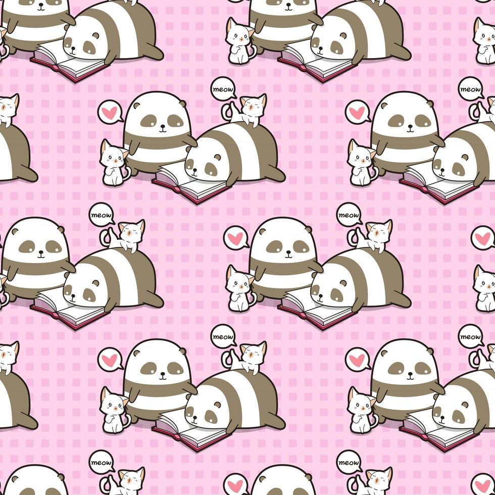 nahtlose kawaii Pandas und Katzen, die Buchmuster lesen vektor