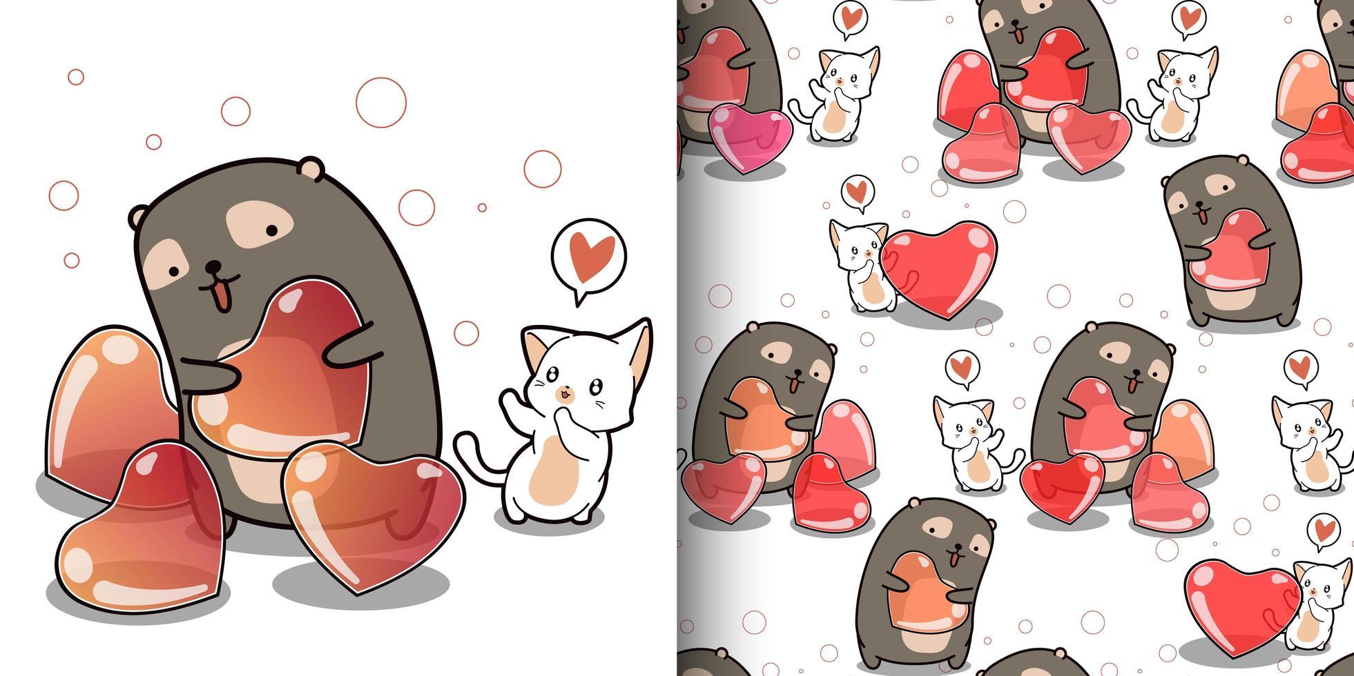 sömlösa mönster kawaii katt vill ha hjärta från söt björn vektor
