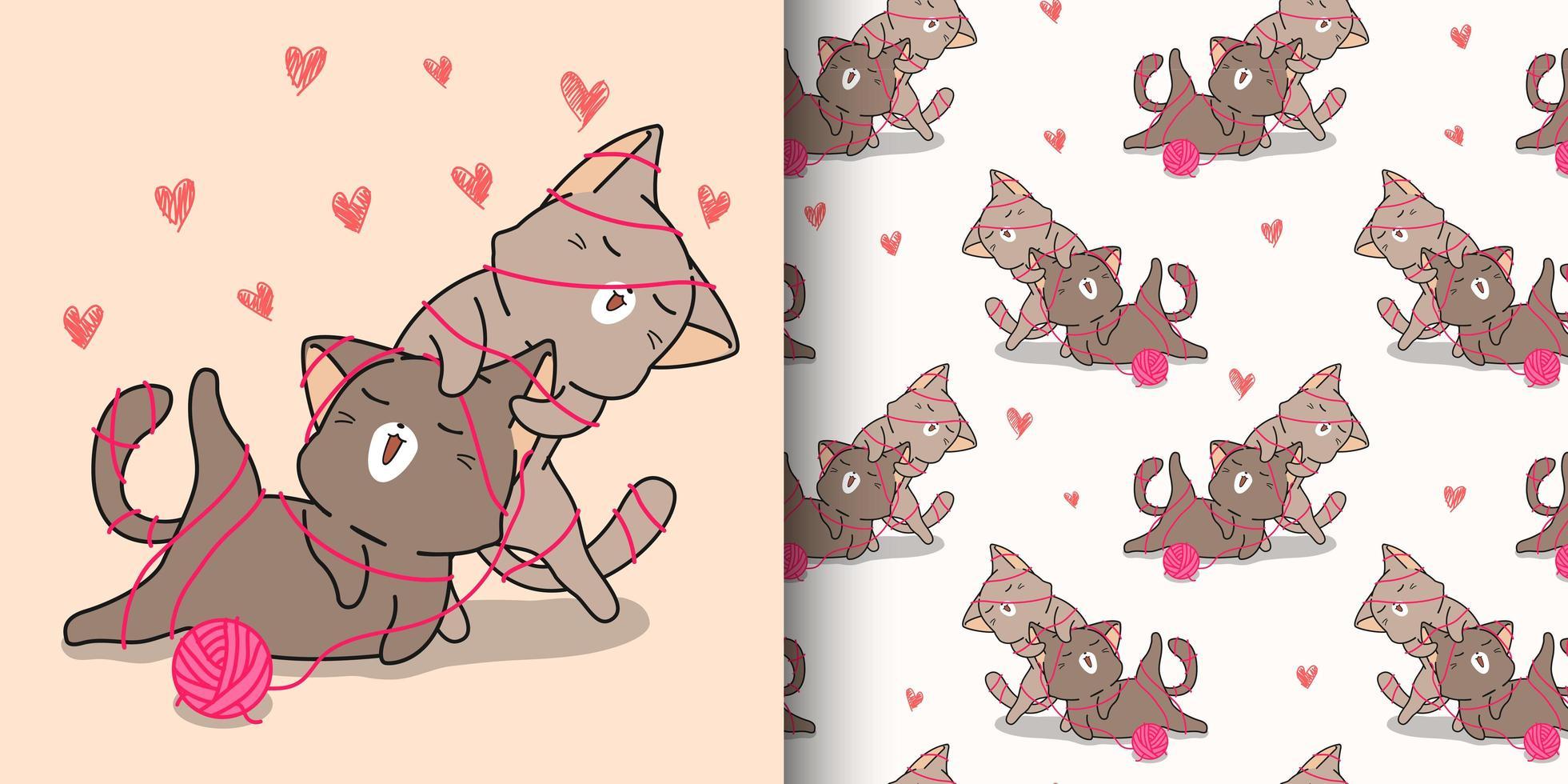 sömlösa mönster kawaii katter älskar och trassligt i garn vektor