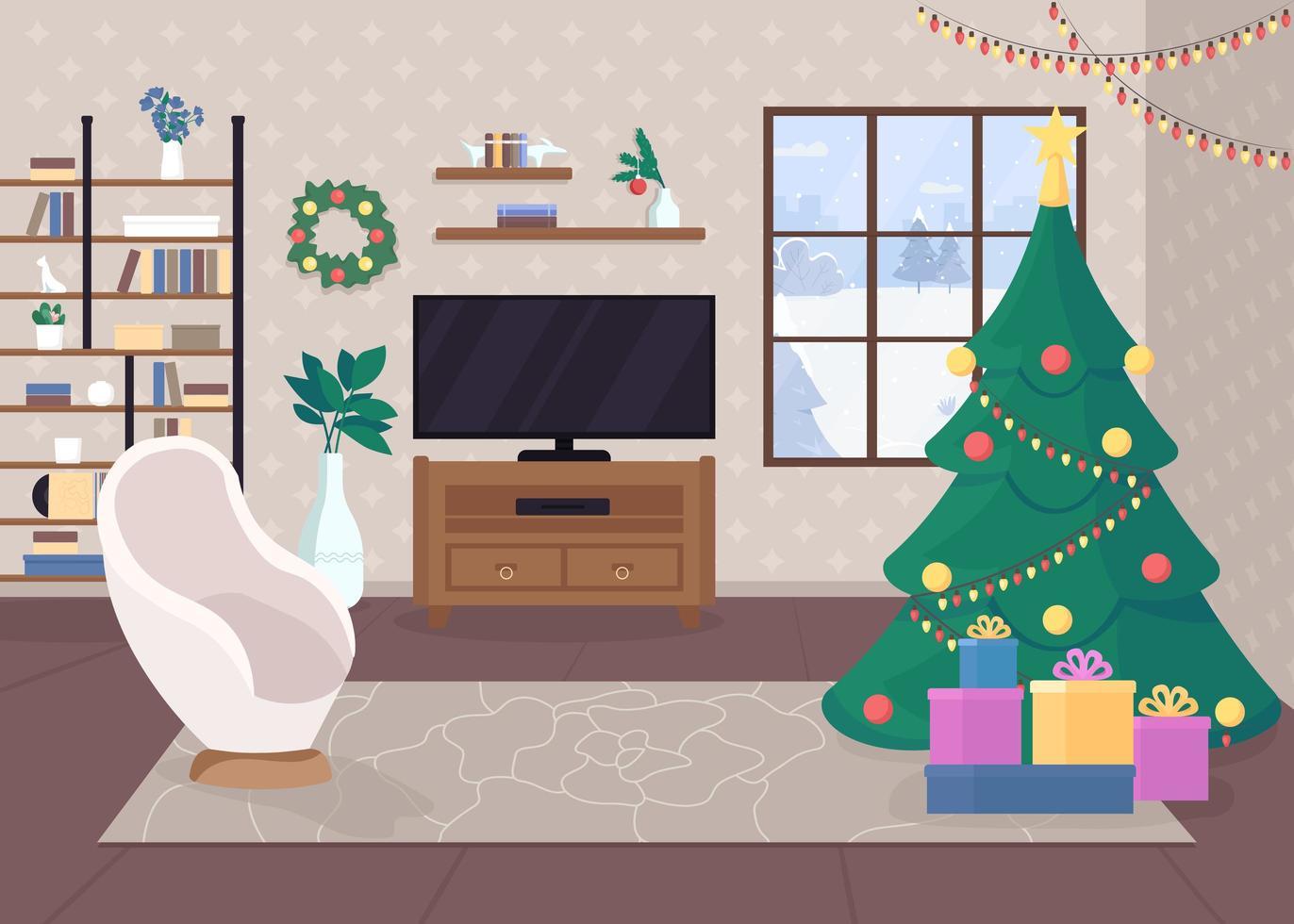 modernes Weihnachtshaus innen vektor
