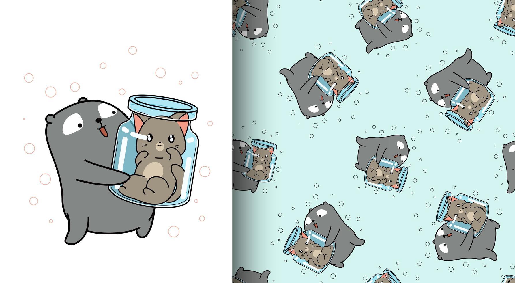 nahtloses Muster reizender Bär, der Katze innerhalb der Flasche anhebt vektor