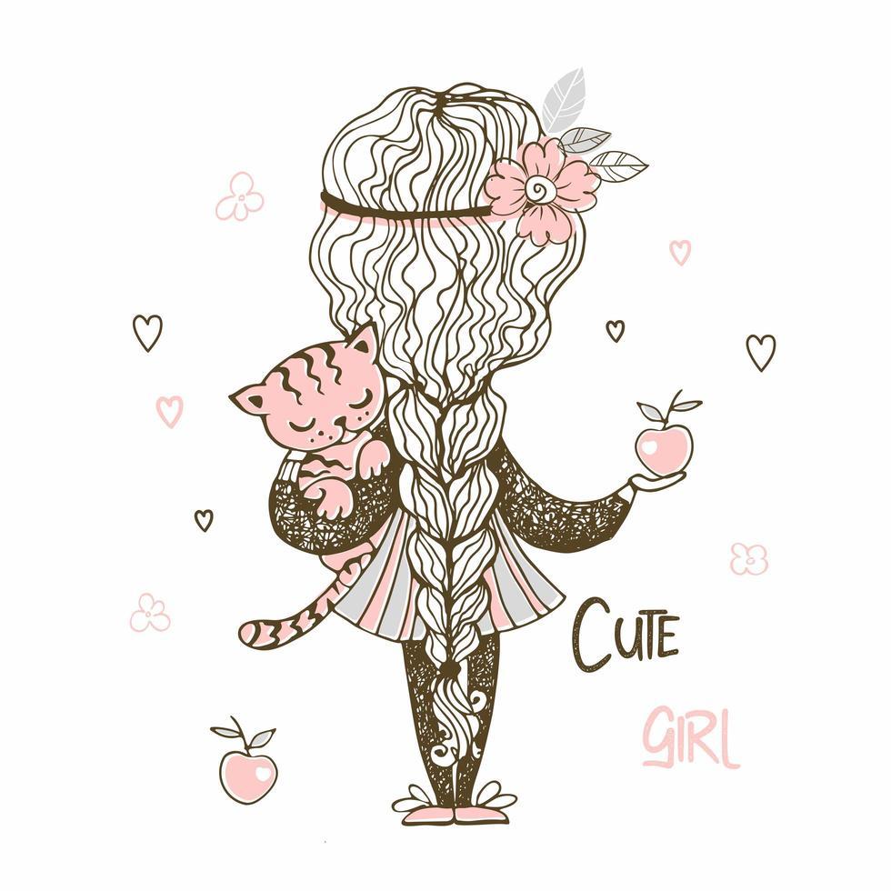 söt tjej med en lång pigtail som håller en kattunge vektor
