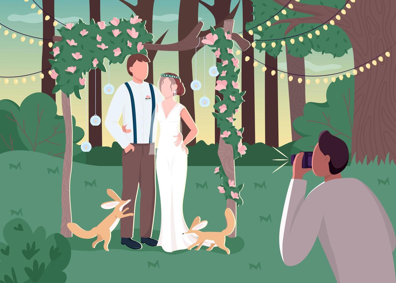 Jungvermähltenpaar in rustikaler Fotozone vektor