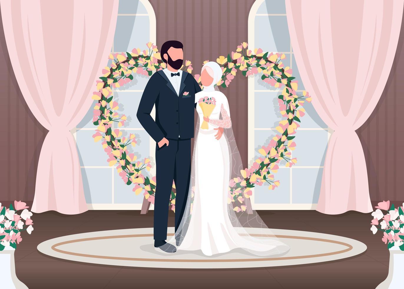 muslimische Jungvermählten flach vektor