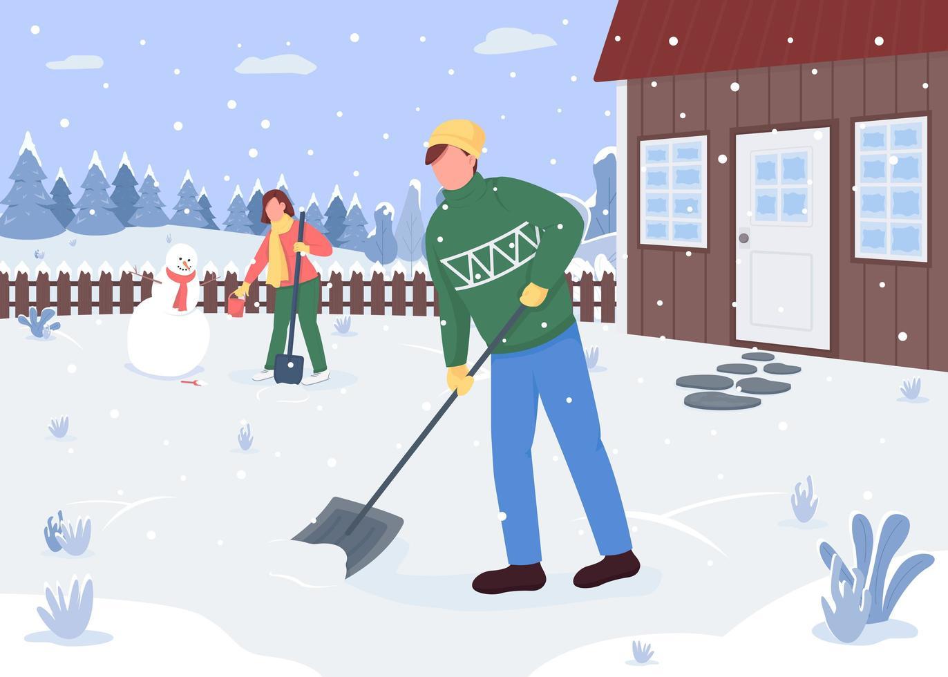 Leute, die außerhalb des Hauses Schnee putzen vektor