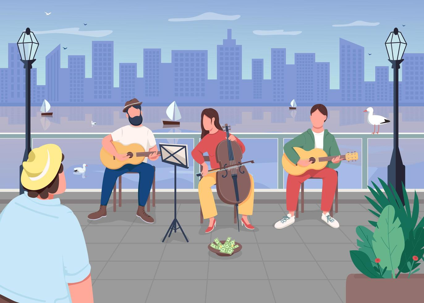 Musikband in der Stadt vektor