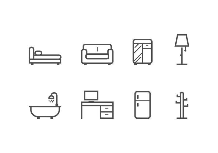 Möbel und Heimtextilien setzen Icons vektor