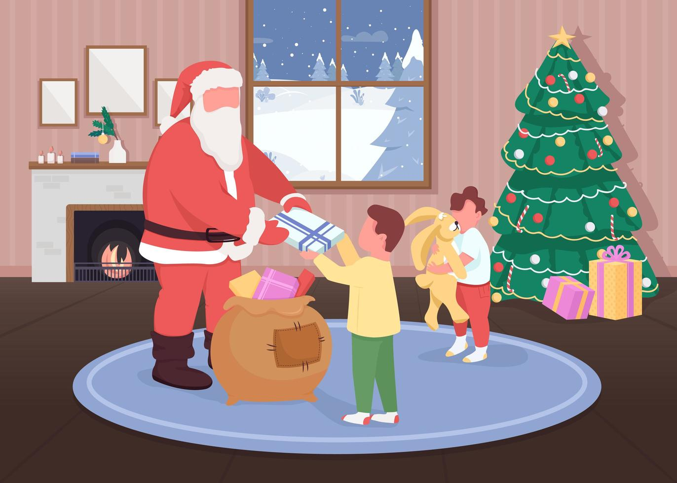 Santa gibt Kindern Geschenke vektor