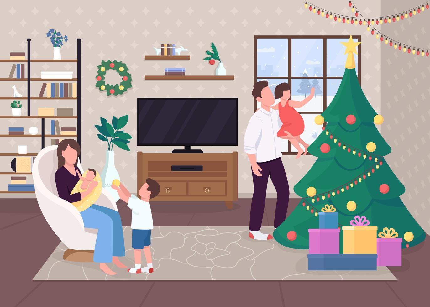 Weihnachtsmorgen mit der Familie vektor
