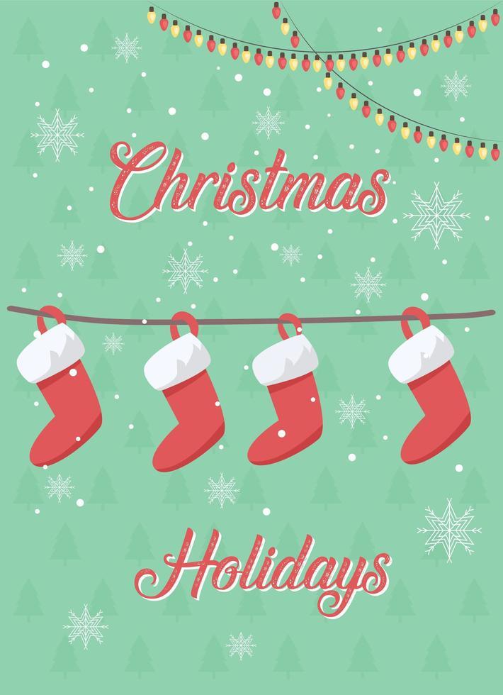 Weihnachtsstrümpfe Grußkarte vektor
