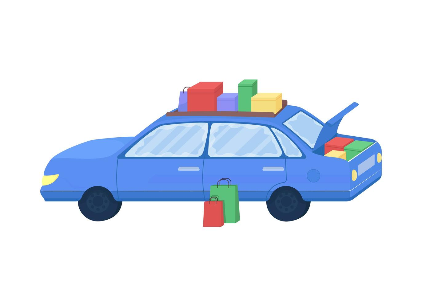Auto mit gekauften Waren vektor