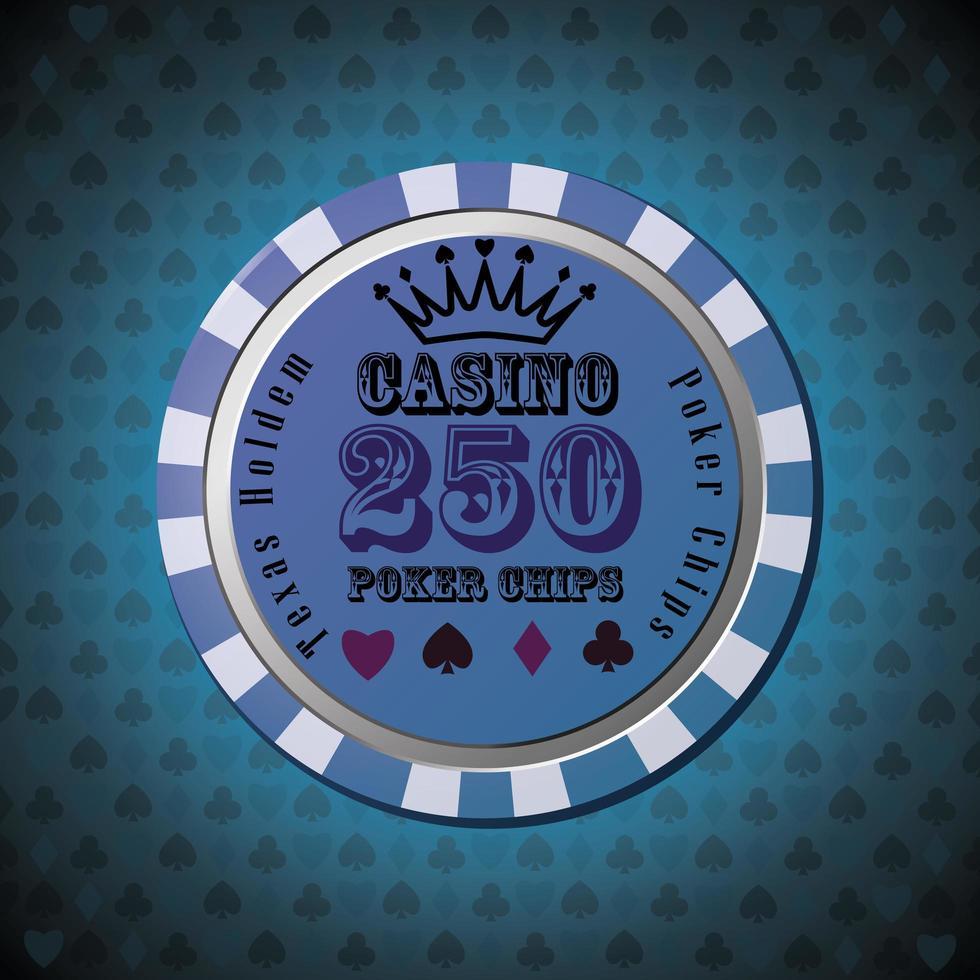 pokerchip 250 på blå bakgrund vektor