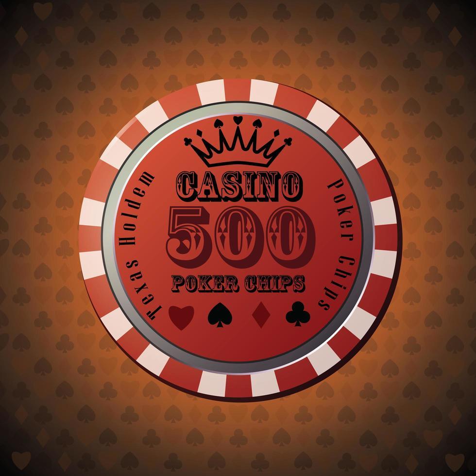 pokerchip 500 på orange bakgrund vektor