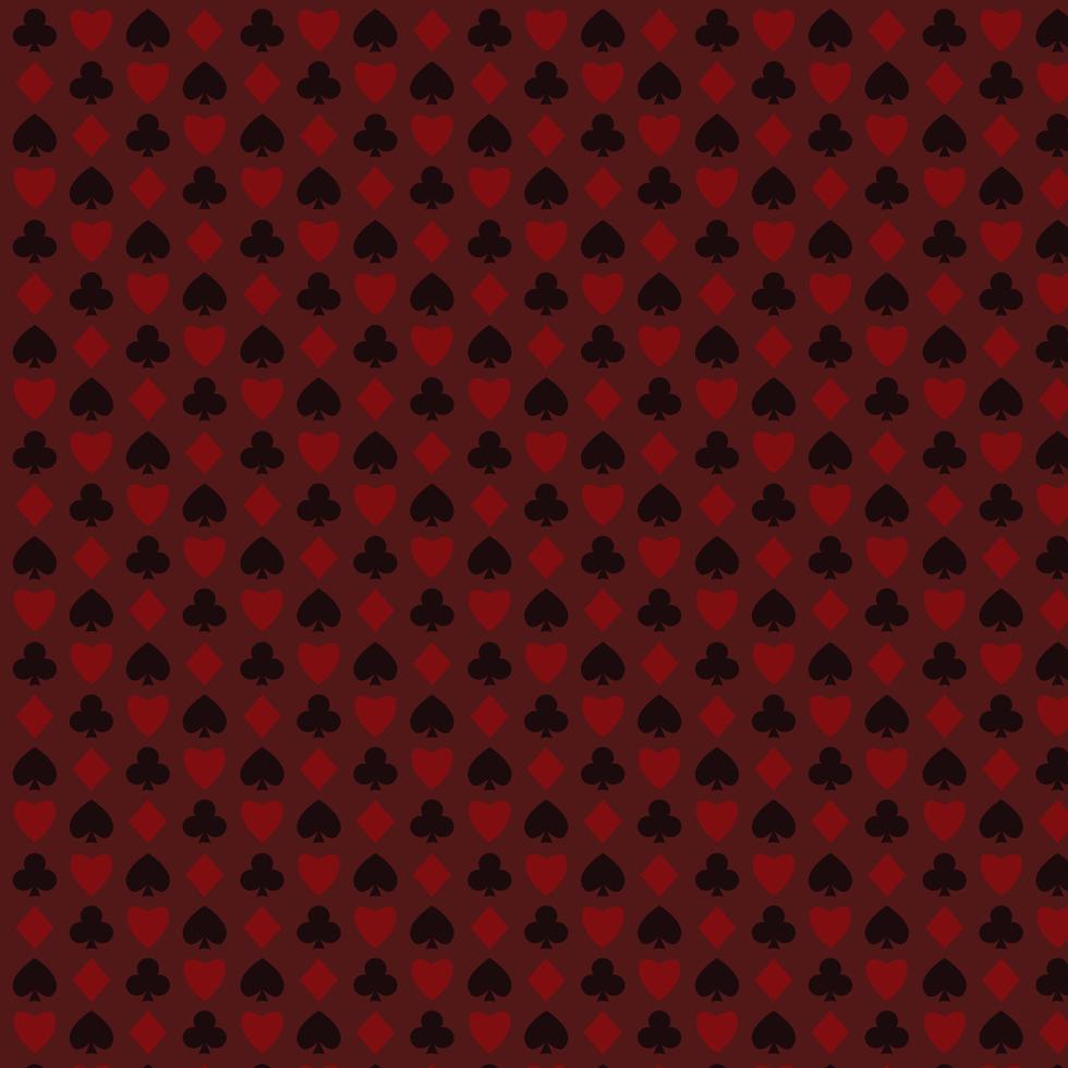 spela, poker, blackjack kort symbol röda sömlösa mönster vektor