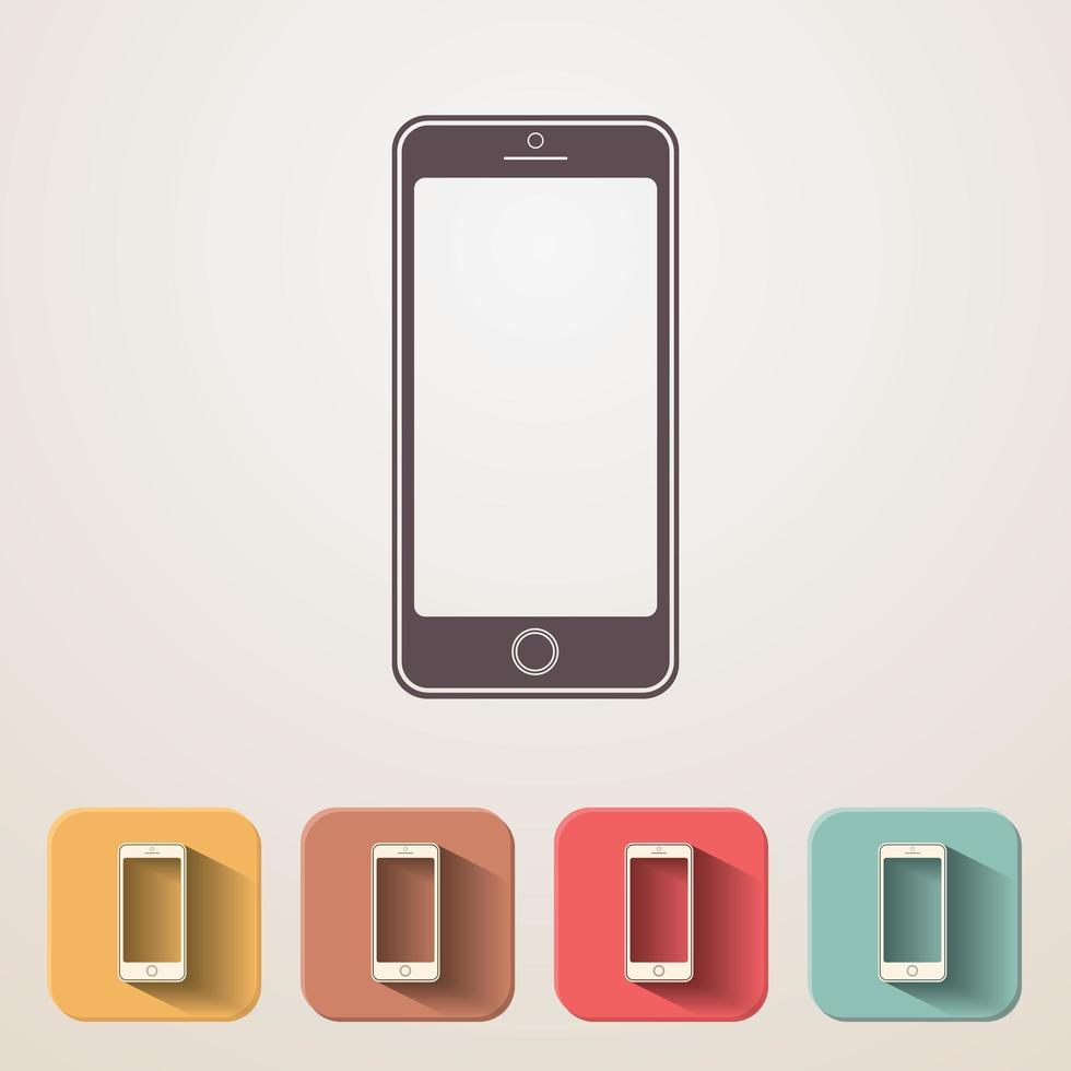 neue flache Symbole für Smartphones festgelegt vektor