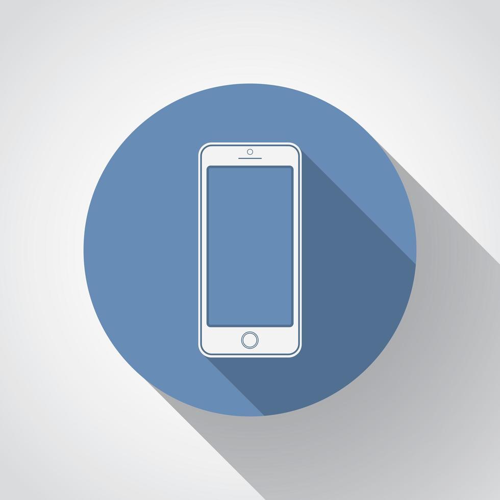 neues Smartphone flaches Symbol mit langem Schatten vektor