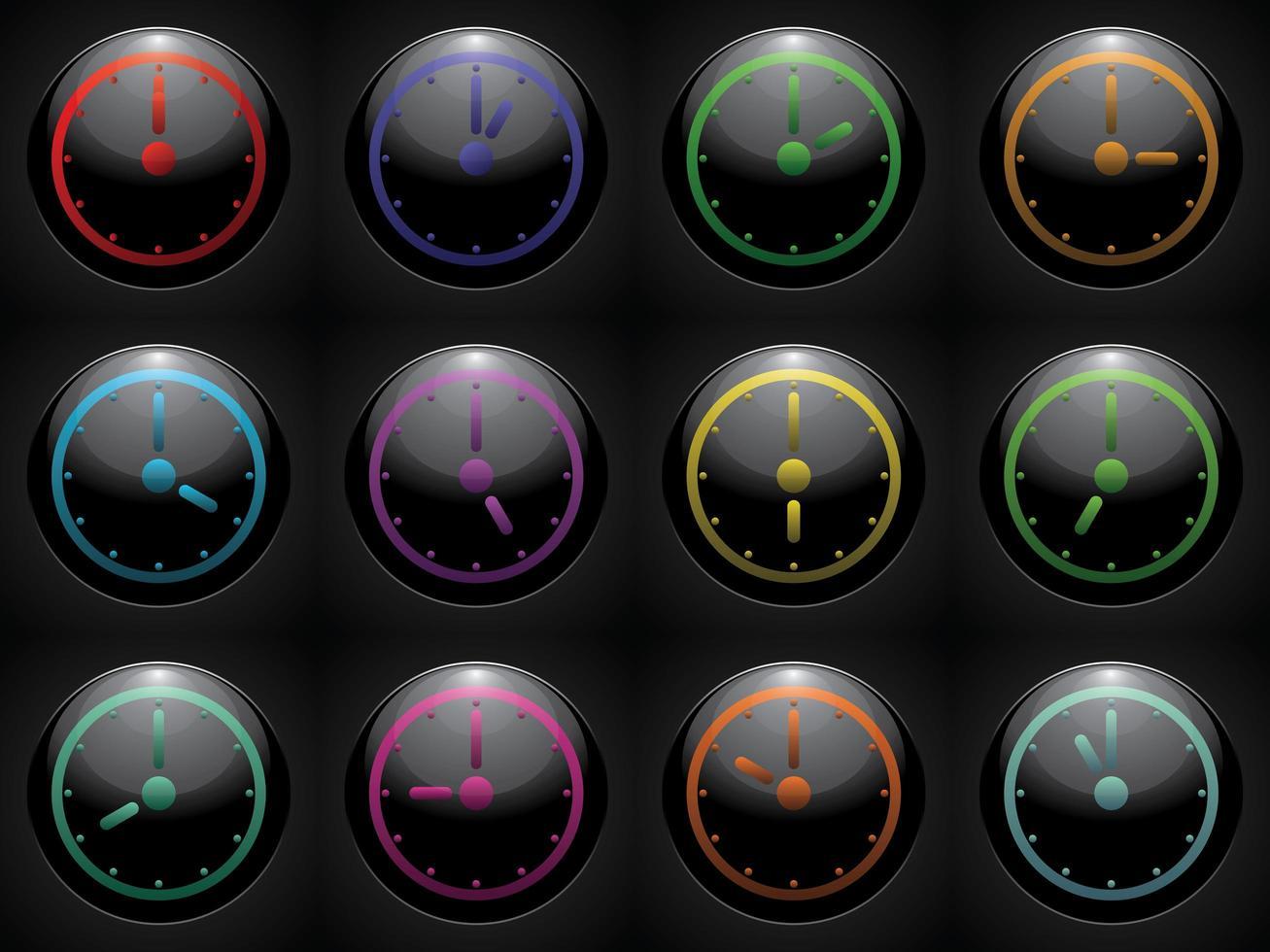 Uhrensymbol stellte Farbe auf schwarzem Hintergrund ein vektor