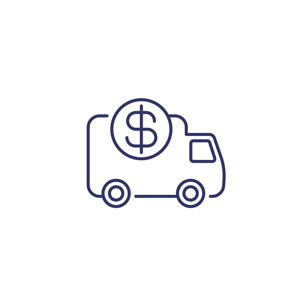 transportkostnader linje ikon på vitt vektor