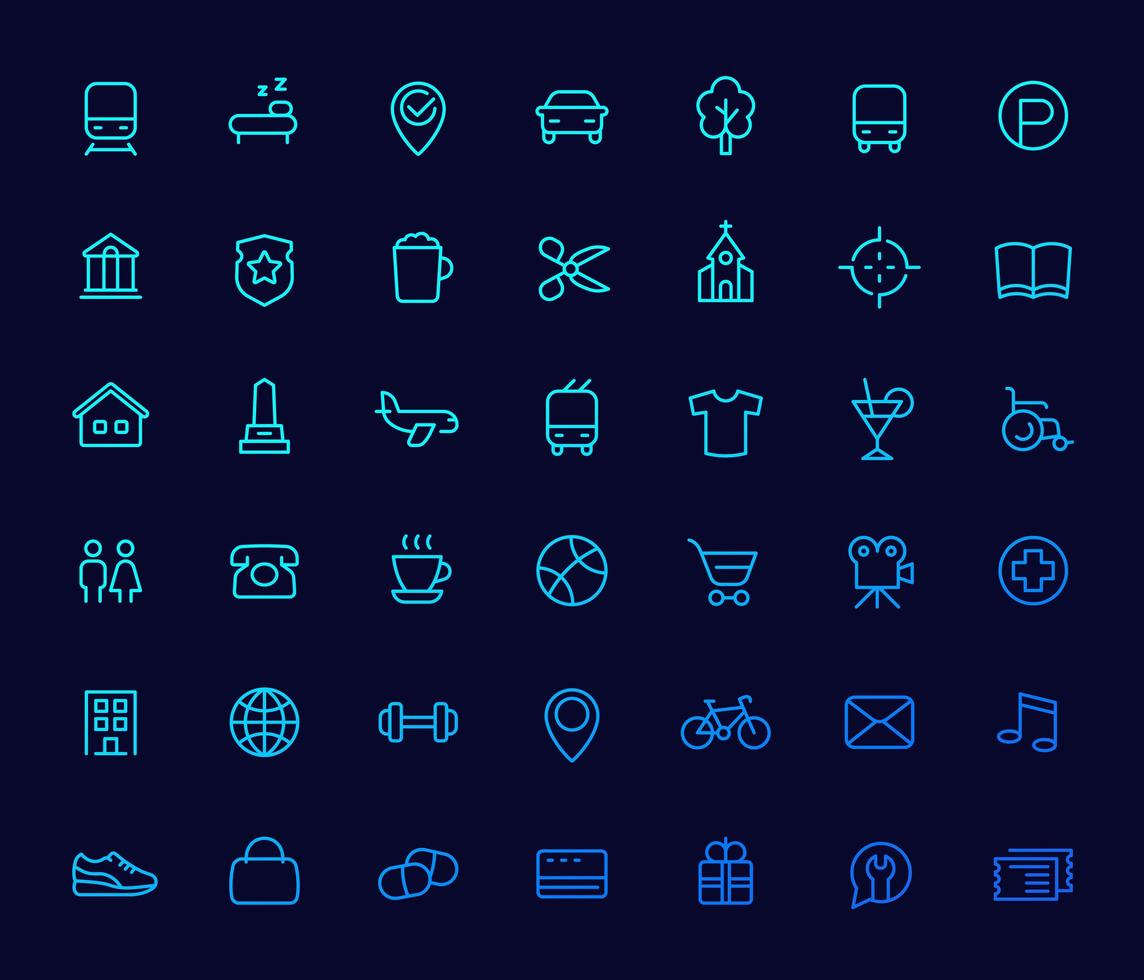 Liniensymbole für Karten, Navigations-Apps vektor