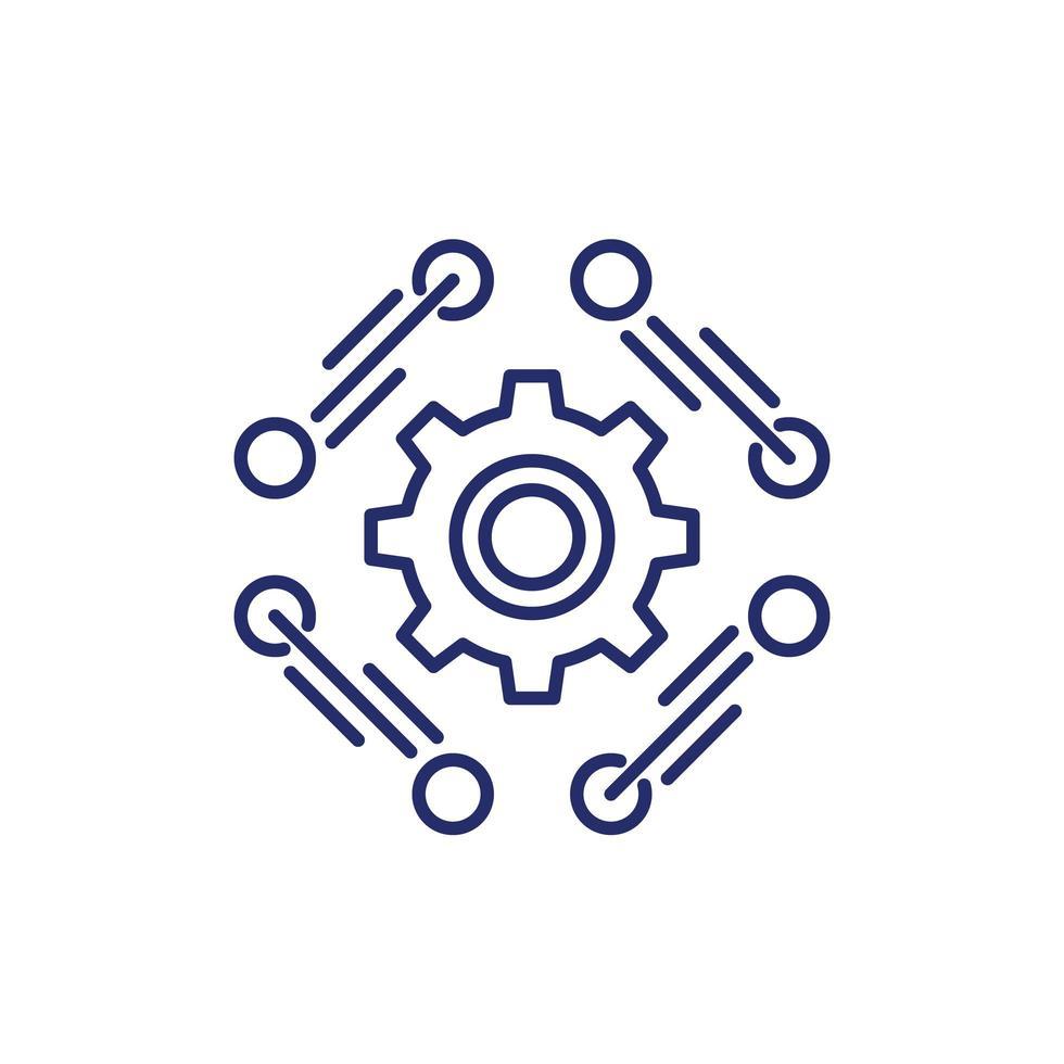 Software, API-Liniensymbol auf Weiß vektor