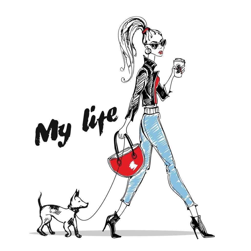 modisches Mädchen geht mit einem kleinen Hund. stilvolle Grafiken. vektor