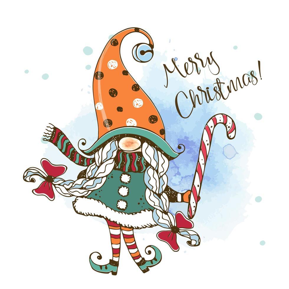 Weihnachtskarte mit einem niedlichen Mädchen nordischen Gnom vektor