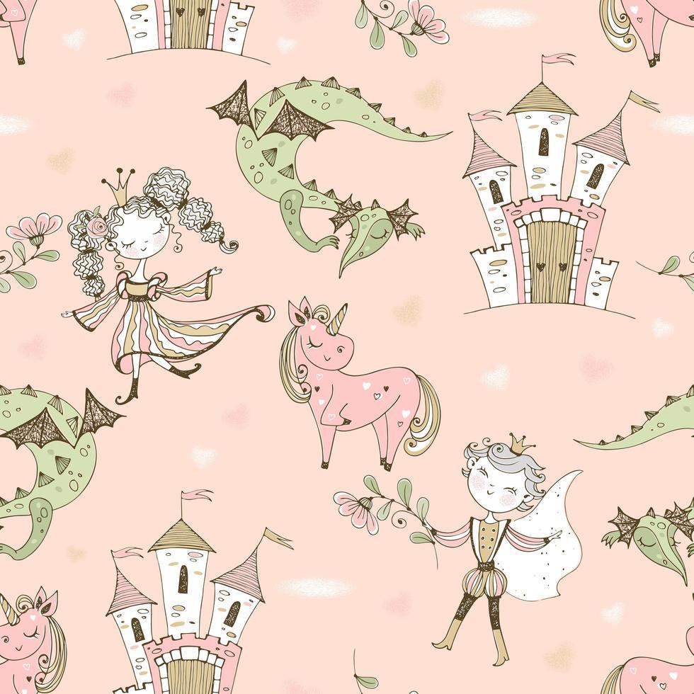 nahtloses Muster Märchenland mit Prinzessinnen und Prinzen vektor