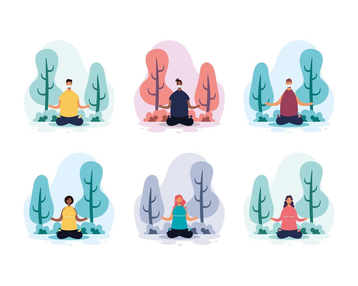 människor som tränar yoga i parken vektor