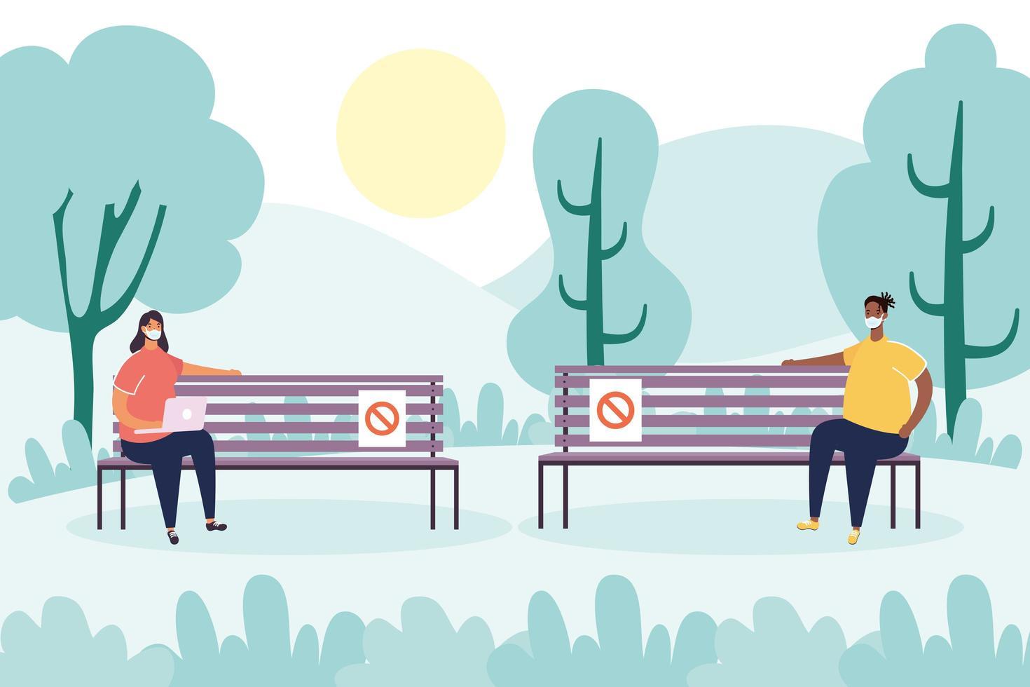 Menschen, die im Park soziale Distanz üben vektor