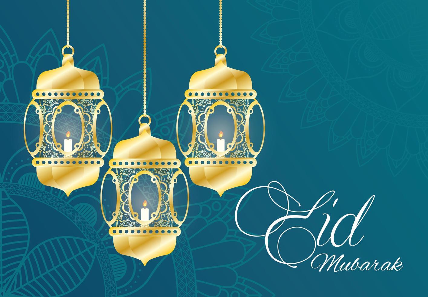 Eid Mubarak Feier Banner mit hängenden Lampen vektor