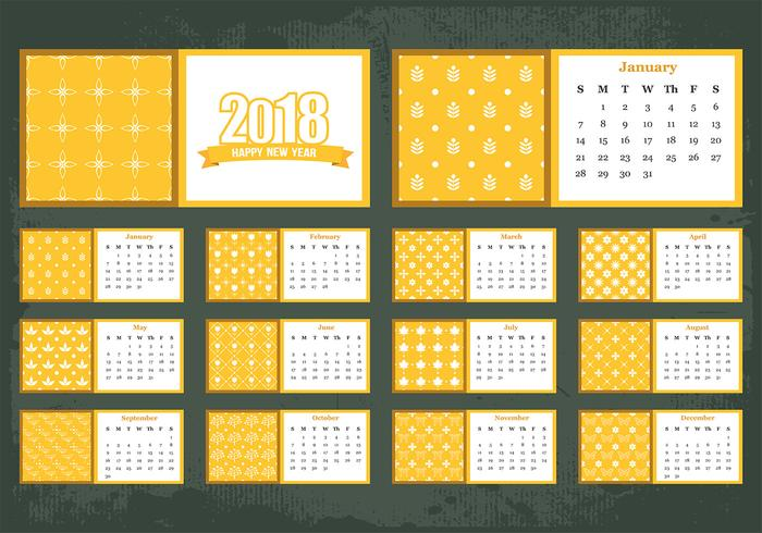 Vektor Vorlage des druckbaren monatlichen Kalenders 2018