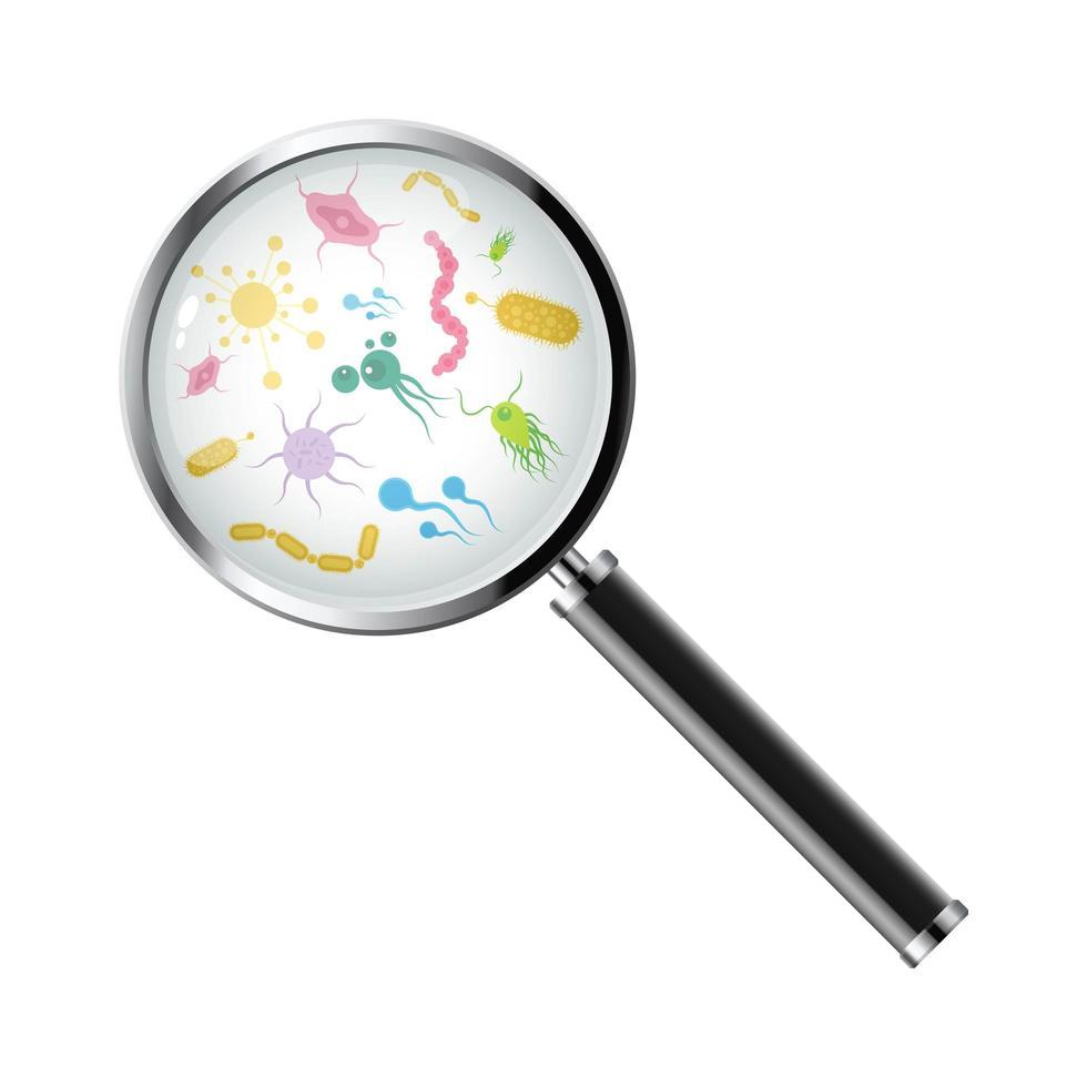 mikroorganismer under ett förstoringsglas vektor