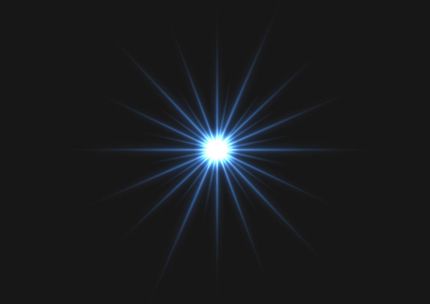 blå stjärnljus på mörk bakgrund vektor