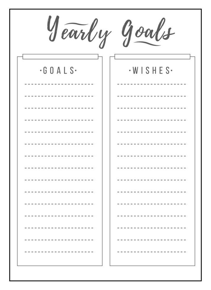 årligt schema minimalistisk planerarsidesdesign vektor