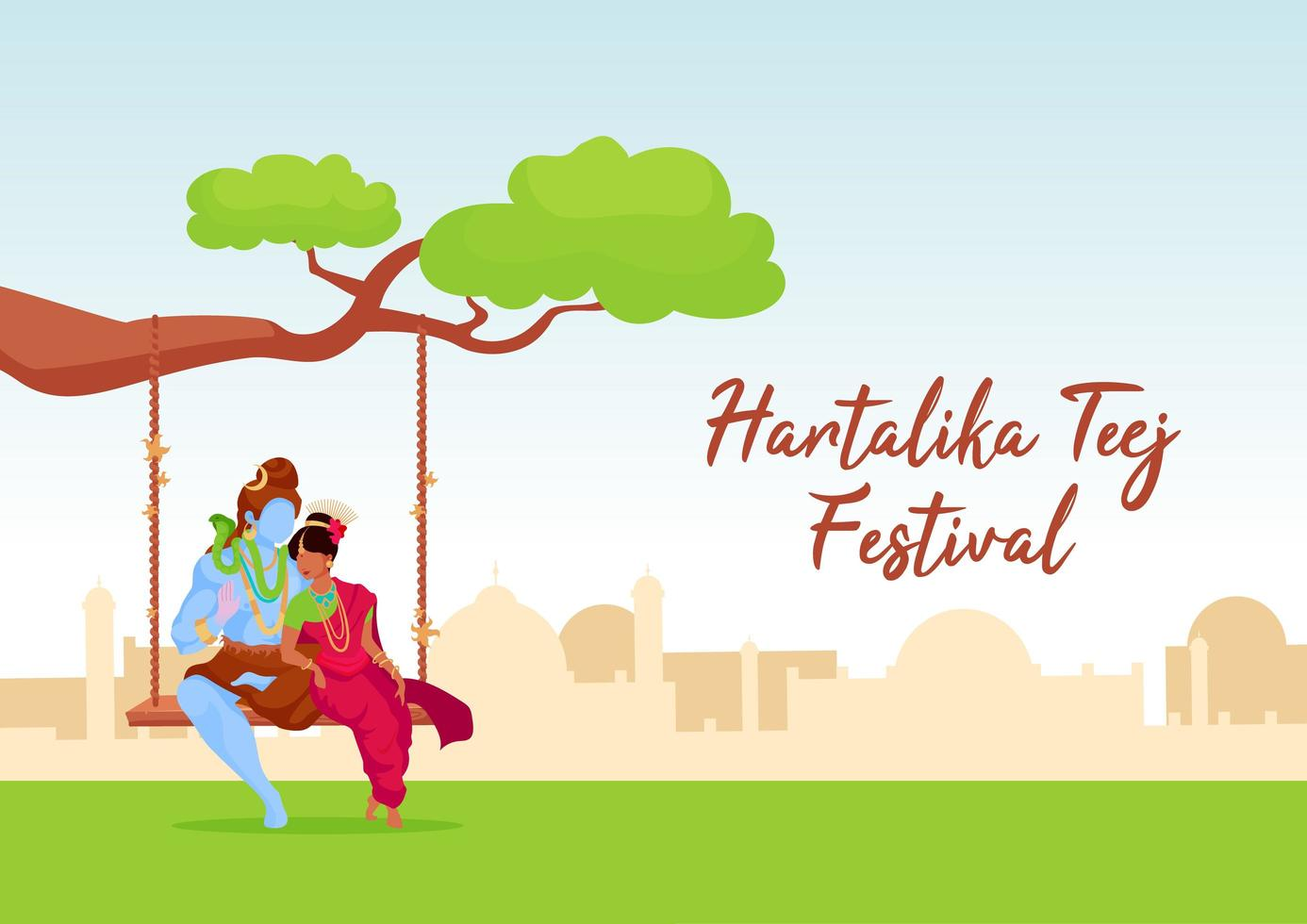 Hartalika Teej Festival Poster vektor