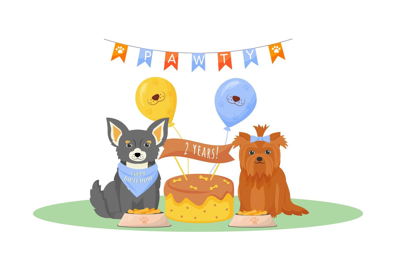 hund födelsedagsfest vektor