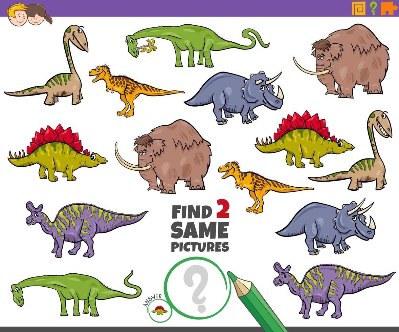 Finden Sie zwei gleiche prähistorische Tiere Aufgabe für Kinder vektor