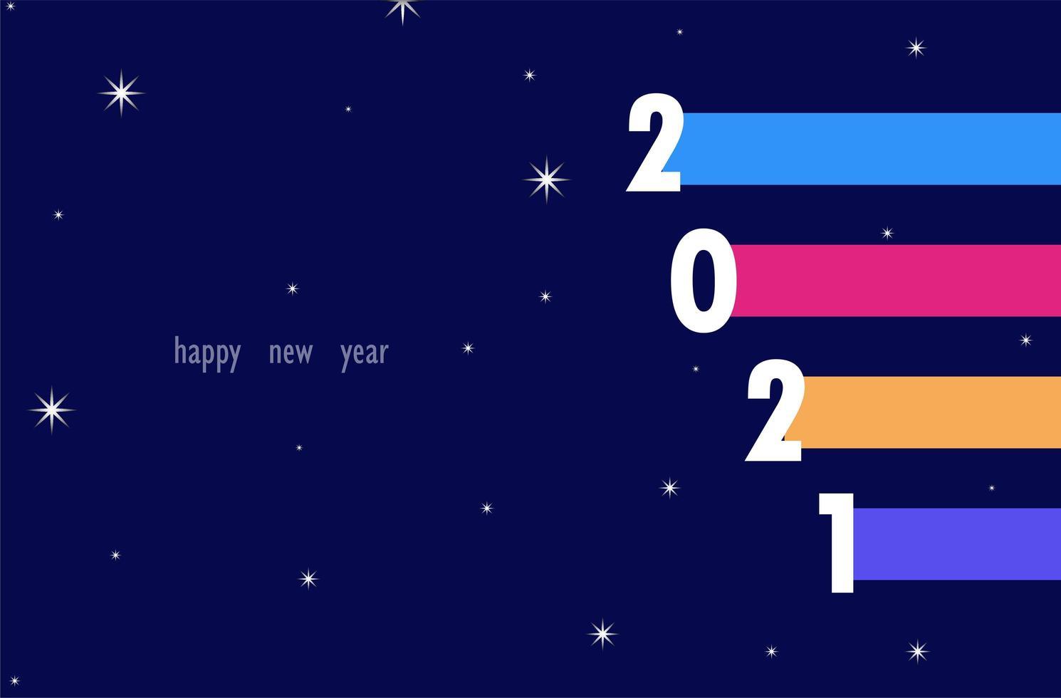 2021 text med färgglada linjer bakgrund vektor