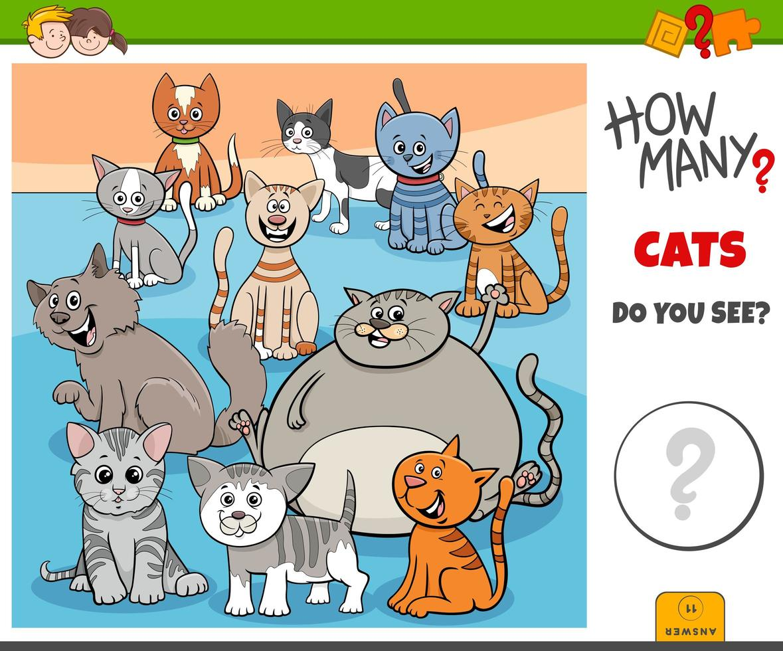 hur många katter pedagogisk uppgift för barn vektor