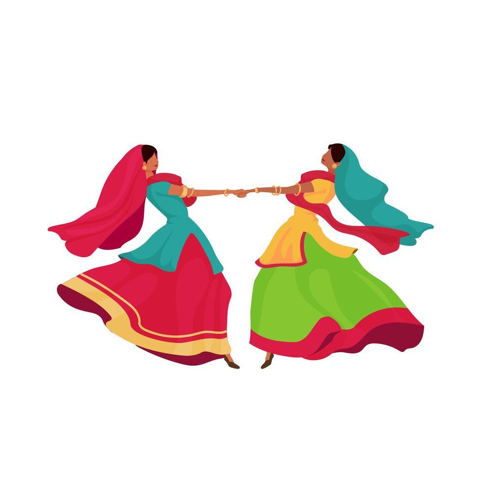 indiska tjejer i sari vektor