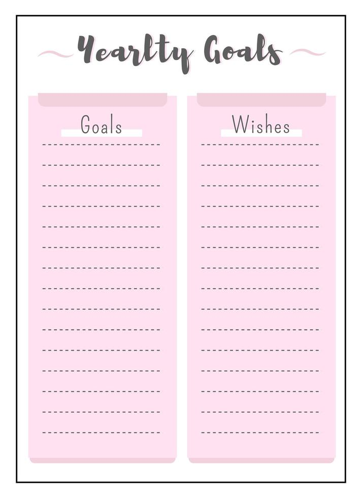 årliga mål och önskar rosa kreativ planerarsida vektor