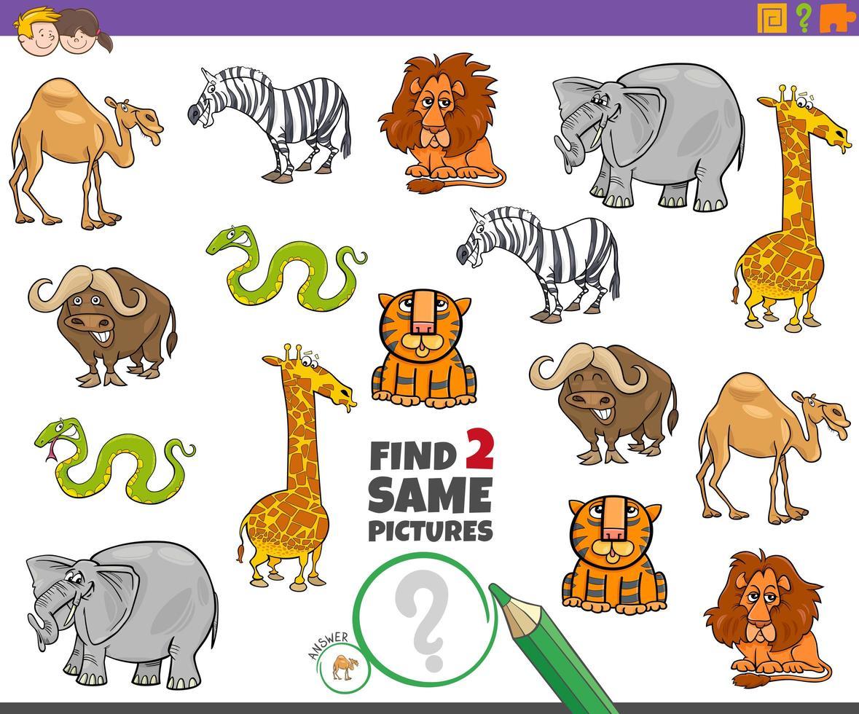 Finden Sie zwei gleiche Tiere Lernspiel für Kinder vektor