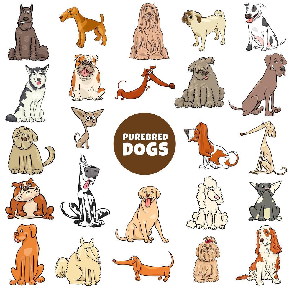 tecknade renrasiga hundar karaktärer stor uppsättning vektor