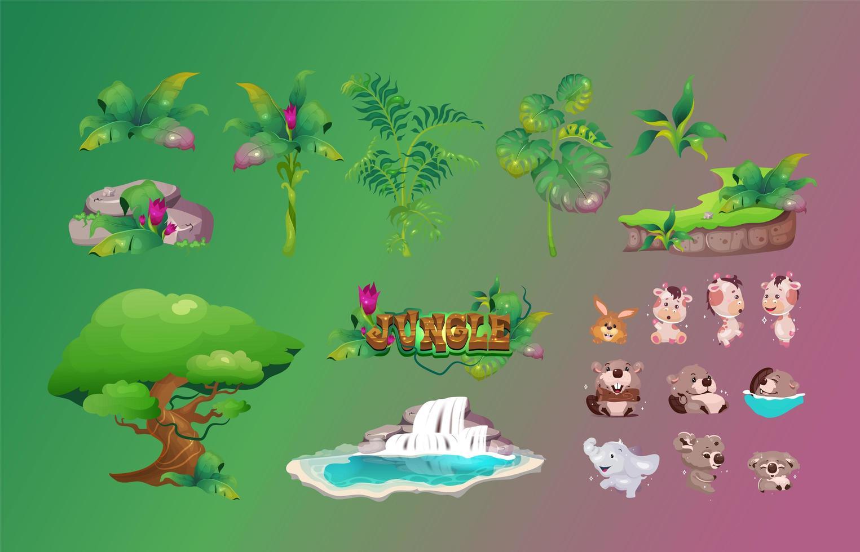 Dschungel Flora und Fauna Objekte gesetzt vektor