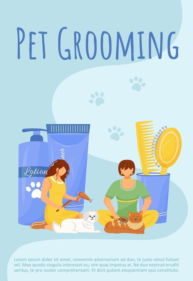 Haustier Pflege Poster vektor