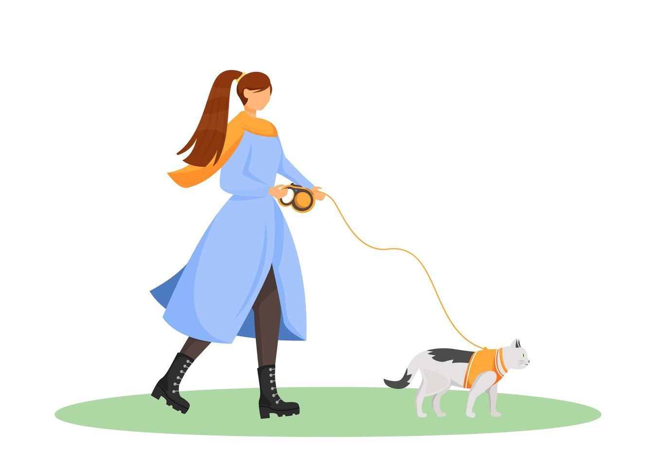 kvinna gå katt vektor