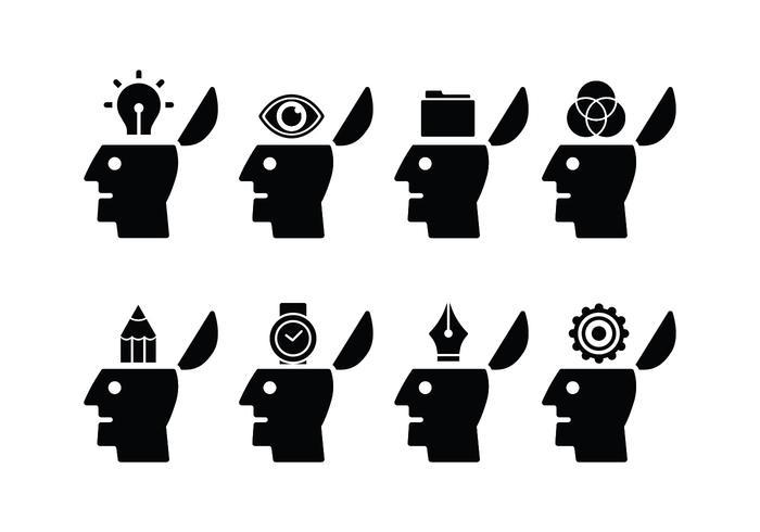 Geöffnete Mind Set Icons vektor