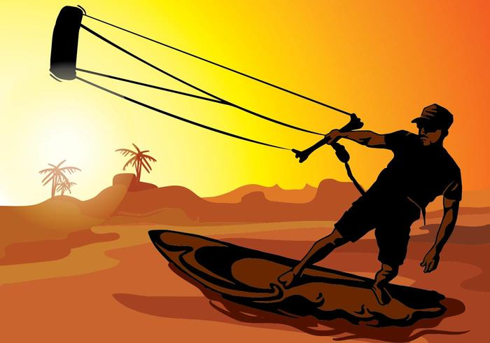 kitesurfing solnedgång silhuett vektor
